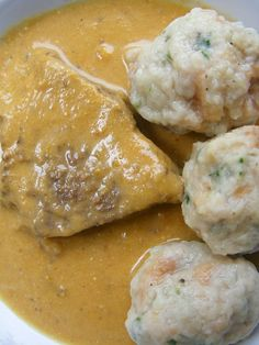 "lúdanyó: Vadas marha zsemlegombóccal - look at those "" Dumplings"" .with Gravy, ohmydrool. Hungarian Desserts, Hungarian Cuisine, Hungarian Recipes, Hungarian Food, Bread Dumplings, Eastern European Recipes, Easy Cooking, Soul Food, Food Porn"
