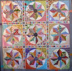 Maybe in my dreams I can make this...love the look for leftover scraps! Scrappy Windmills Quilt Pattern by PatchworkFun on Etsy, $15
