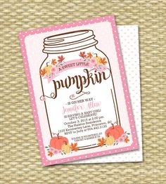 Baby Girl Little Pumpkin Baby Shower Invitation Mason Jar Fall Baby Shower Invite Fall Leaves Pumpkin Pink Flowers by SunshinePrintables on Etsy https://www.etsy.com/au/listing/246149064/baby-girl-little-pumpkin-baby-shower