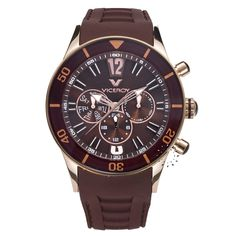 VICEROY Rose Gold Multifunction Brown Rubber Strap  145€  http://www.oroloi.gr/product_info.php?products_id=26810