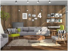 Created By Severinka Era livingroom furniture Created for: The Sims 4 Set of furniture for living room in Scandinavian style The set includes 12 objects: - sofa 3-seater - sofa 2-seater - living...