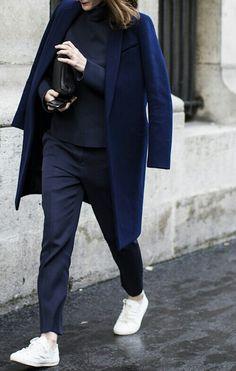 the white sneaker dark blue suit