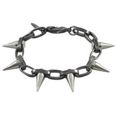 Joomi Lim Chain Bracelet with Single Spikes ($114) ❤ liked on Polyvore featuring jewelry, bracelets, accessories, spike jewelry, chains jewelry, spike bangle and joomi lim