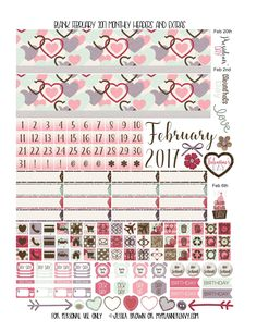 Free Printable February 2017 Blank Days/Monthly Headers and Extras suitable for most planners from myplannerenvy.com