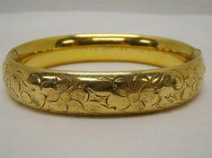 ANTIQUE W.E.H. 1/20 14K GF GOLD FILLED HINGED 22g BRACELET FLORAL ETCHED 13MM #WEH