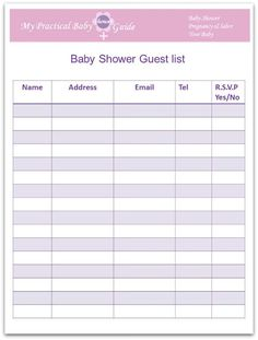 Baby Shower Guest List Printable   Shower organizing and Guest list