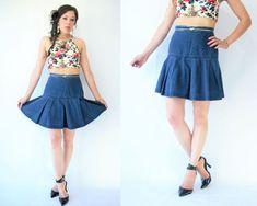 Vintage 80's Jean Pleated High Waist Denim Mini Skirt /
