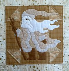 """Classic Santa"" applique in taupe by Sue Garman"