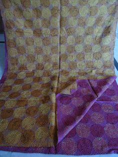 Vintage Kantha Scarf Cotton Sari Stole Women Shawl Hand Stitch Embroidered 045 #Handmade #Scarf