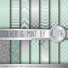 Papel Digital Plata Plateado Menta Azul Verde por LagartixaShop, $4.00 #silvermint #silverbackgrounds #mintdigitalpaper