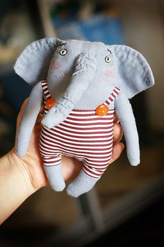 """Игрушки животные, ручной работы. Ярмарка Мастеров - ручная работа. Купить Игрушка текстильная """"Слон-циркач"""". Handmade. Слон, полосатый Tiny Dolls, Soft Dolls, Cute Dolls, Pet Toys, Baby Toys, Kids Toys, Fabric Animals, Plush Animals, Softies"""