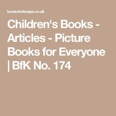 Children's Books - Articles - Picture Books for Everyone   BfK No. 174