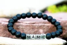custom name bracelet custom name Jewelry mens personalized Bracelet mens custom bracelet Black obsidian bracelet mens bracelet beaded men by Lovelyblackpanther #TrendingEtsy