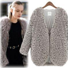USD16.99New Style V Neck Long Sleeve Zipper Grey Wool Regular Coat