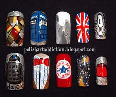 There HAS to be a way to do this with short nails... I don't do long nails.  Polish Art Addiction: Doctor Who Nail Art