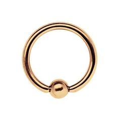 Bild von Piercing 316l Stahl Ring BCR, 18 kt. Rosè Gold 1,2 x 6, 10 mm
