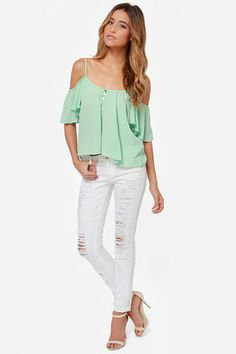 Ebb and Flow Off-the-Shoulder Mint Top: Just like the constant ebb and flow of the ocean, constant cuteness forever lies in this top. Adjustable spaghetti straps linger atop this flowing woven top with a front button placket that boasts glimmering shell buttons, while fluttering bell sleeves hang off the shoulders. Unlined. Hand wash cold XS $43.00