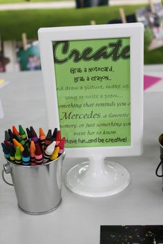 With crayons & a stack of notecards...  Fun idea for any party!