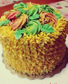 A classic vanilla cake with vanilla bean pastry cream... #vanillabean #vanillacake #cake #baking #dessert #birthday #yellow #roses