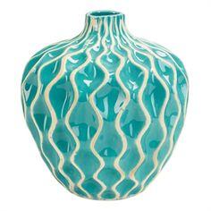 Imax Worldwide Home Agatha Ceramic Vase #VonMaur #ImaxWorldwide #HomeDecor #Vase #Waves #Ceramic