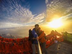 Most beautiful sunset that we've ever witnessed in our lives so far! At the summit of Hua Shan