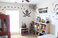 Boy kids room ideas and boys room designs Pirate Nursery, Pirate Bedroom, Big Boy Bedrooms, Kids Bedroom, Bedroom Ideas, Shark Bedroom, Kid Rooms, Bedroom Inspiration, Pirate Baby