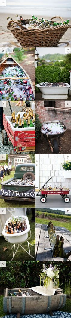 Alternative drink displays for a wedding or backyard party - use multiple of these around the designated area for easy access and conversation pieces