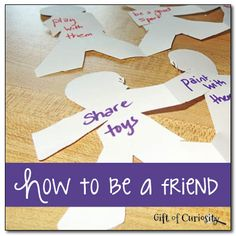 "Great Activity for Ready for School and Making Friends themed activities A simple activity and discussion for teaching young children how to be a friend based on the book ""How to be a Friend"" by Laurie Krasny Brown. Preschool Lessons, Preschool Classroom, Preschool Activities, Matter Activities, Preschool Social Skills, Manners Preschool, Kindness Activities, Camping Activities, Social Emotional Activities"