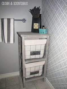 Clean & Scentsible: Stenciled Bathroom Wall and the Cutting Edge Stencil Winner Pictures For Bathroom Walls, Cute Bathroom Ideas, Bathroom Wall Decor, Bathroom Interior, Small Bathroom, Bathroom Storage, Bathroom Inspiration, Master Bathroom, Interior Inspiration