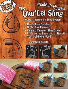 Uku'Lei Sling - die Hände frei, keine Bohrer-Lösung auf der Big Island von Koa Massivholz hergestellt.