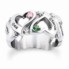Sterling Silver Simulated Birthstone Endless Love Ring by ArtCarved® (6 Names and Stones)