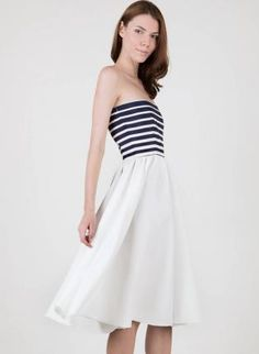 White+Strapless+A-Line+Dress+with+Striped+Bust,++Dress,+stripes++fit+and+flare++a-line,+Chic