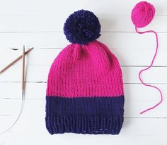 KNIT TWO-TONE SLOUCHY BEANIE