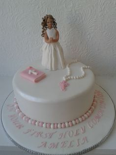 a stunning elegant communion cake with bible and rosary beads Confirmation Cakes, First Communion Cakes, Holi, Rosary Beads, Elegant, Chocolates, Bible, Decorating Cakes, Little Girls