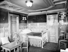 Titanic - First class parlour suite B57.  suites 57, 59, 61, and 63 were taken by the Ryerson family who were returning to New York, having been informed that their eldest son, Arthur, had been killed in an automobile accident. Mr. Alfred Ryerson did not survive the sinking. Mrs. Ryerson and her three children escaped in lifeboat 4.