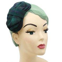 fascinator tweed Halfhats grün blau tartan vintage rockabilly Fascinator, Headpiece, Vintage Mode, Vintage Stil, Tweed, Rockabilly, Beauty, Fashion, Accessories