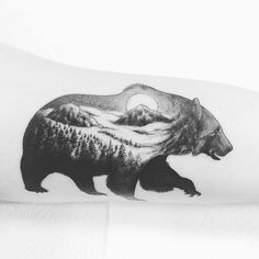 Bear tattoo by @xlxvxr on Inner Bicep Bears #bear #tattoo #blackwork #blackandgrey #beartattoo #nature #naturetattoo #landscape #mountains