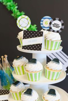 Cool cupcakes at a Star Wars birthday party! See more party planning ideas at CatchMyParty.com!