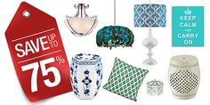 Save up to 75% on traditional and contemporary home decor under $99.