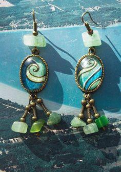 """Tentacle Wilderness"" earrings.  Original watercolor paintings sealed under glass, and real jade beads."