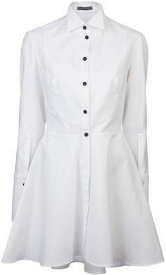 ALEXANDER MCQUEEN White Tuxedo Shirt Dress