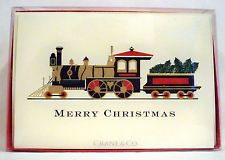 One crane co hand engraved embossed christmas palm tree holidays ten crane co locomotive holiday greeting cards envelopes vintage new m4hsunfo