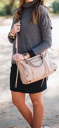 #cute #outfits Turtleneck Sweater // Black Skirt // Pink Leather Tote