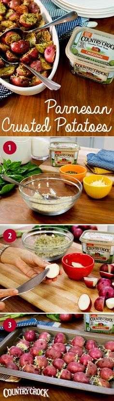 With just 5 ingredients, these oven-baked Parmesan Crusted Potatoes are easy to make, without skimping on flavor. Between the savory goodness of Parmesan, the crunch of panko bread crumbs and the country fresh taste and real, simple ingredients of Country Crock®, each flavorful bite is better than the next. Combine Parmesan, breadcrumbs & basil in a bowl. Butter cut potatoes with Country Crock® & coat with breadcrumbs. Place on a greased baking sheet, and bake 20 minutes or until tender…
