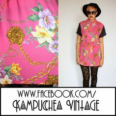 Vintage Pink Chain Floral Print Womens S Shirt Blouse - 80s Retro Kitsch FREE P £25 Stunning hot pink sheer and lightweight womens shirt in the coolest of cool chain and floral print. Made from a lightweight fabric with no need to iron this shirt is super comfy and ready to wear. With an elastic waist it instantly creates a nice figure and the gold buttons and black sleeves top off the look. Classicly WOW!