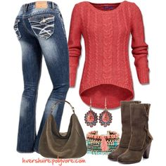 """""""Coral For Fall/Winter"""" by hvershure on Polyvore. Simple and I love Coral"""
