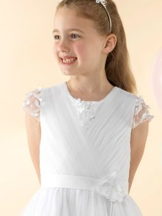 LWCD44 Communion Dress Holy Communion Dresses, First Holy Communion, Pleated Bodice, Little White, Cap Sleeves, Pretty, Collection, Communion Dresses, First Communion Dresses