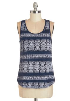 Lacy Evenings Top. You have a number of social outings to choose from this evening, but tonight, slipping into this navy tank top and kicking back for a classic movie marathon cant be beat! #blue #modcloth