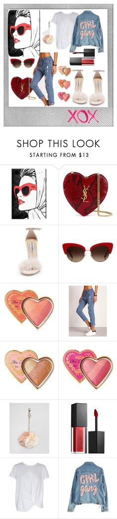 """Polaroid love"" by dorbie ❤ liked on Polyvore featuring Oliver Gal Artist Co., Yves Saint Laurent, Steve Madden, Dolce&Gabbana, Too Faced Cosmetics, Oasis, Smashbox, MINKPINK, High Heels Suicide and Polaroid"