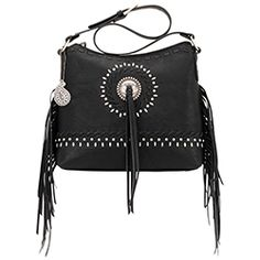 Bandana by American West Sioux Shoulder Bag Black Faux Leather Zip Top Fringe Handbags, Purses And Handbags, American West Handbags, Western Purses, Bandana Print, Sioux, Black Faux Leather, Fashion Handbags, Leather Purses